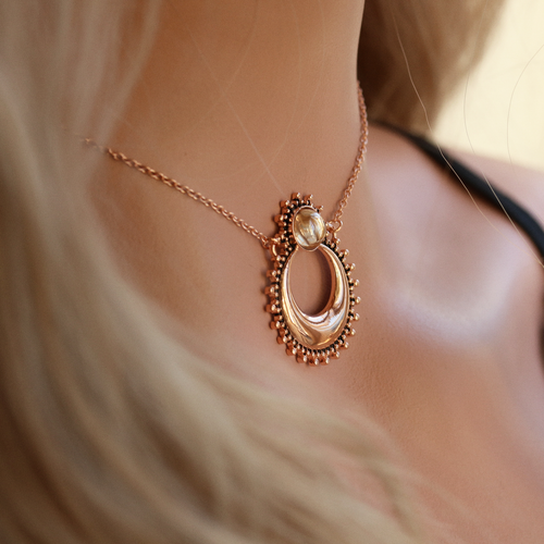 Autumn Moonglow Rose Gold Boho Necklace