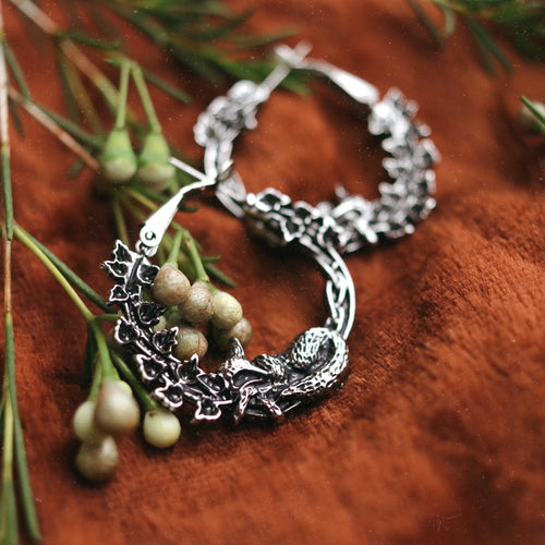 Sleeping Fox & Ivy Wreath Boho Hoop Earrings