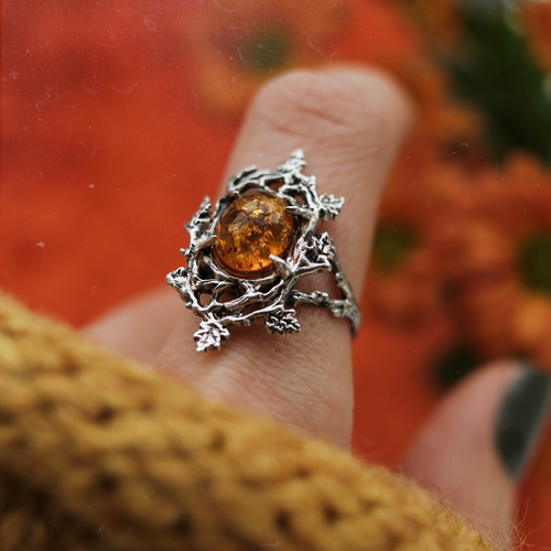 The Forest Moonlight Amber Boho Branch Ring