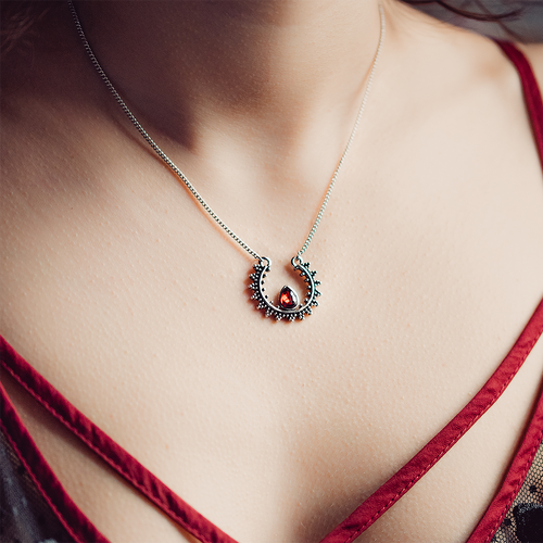 Arnemetia Silver Crescent Moon Necklace *Colour Select