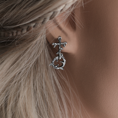 Auraka Gothic Cross Branch Drop Earrings *Colour Select