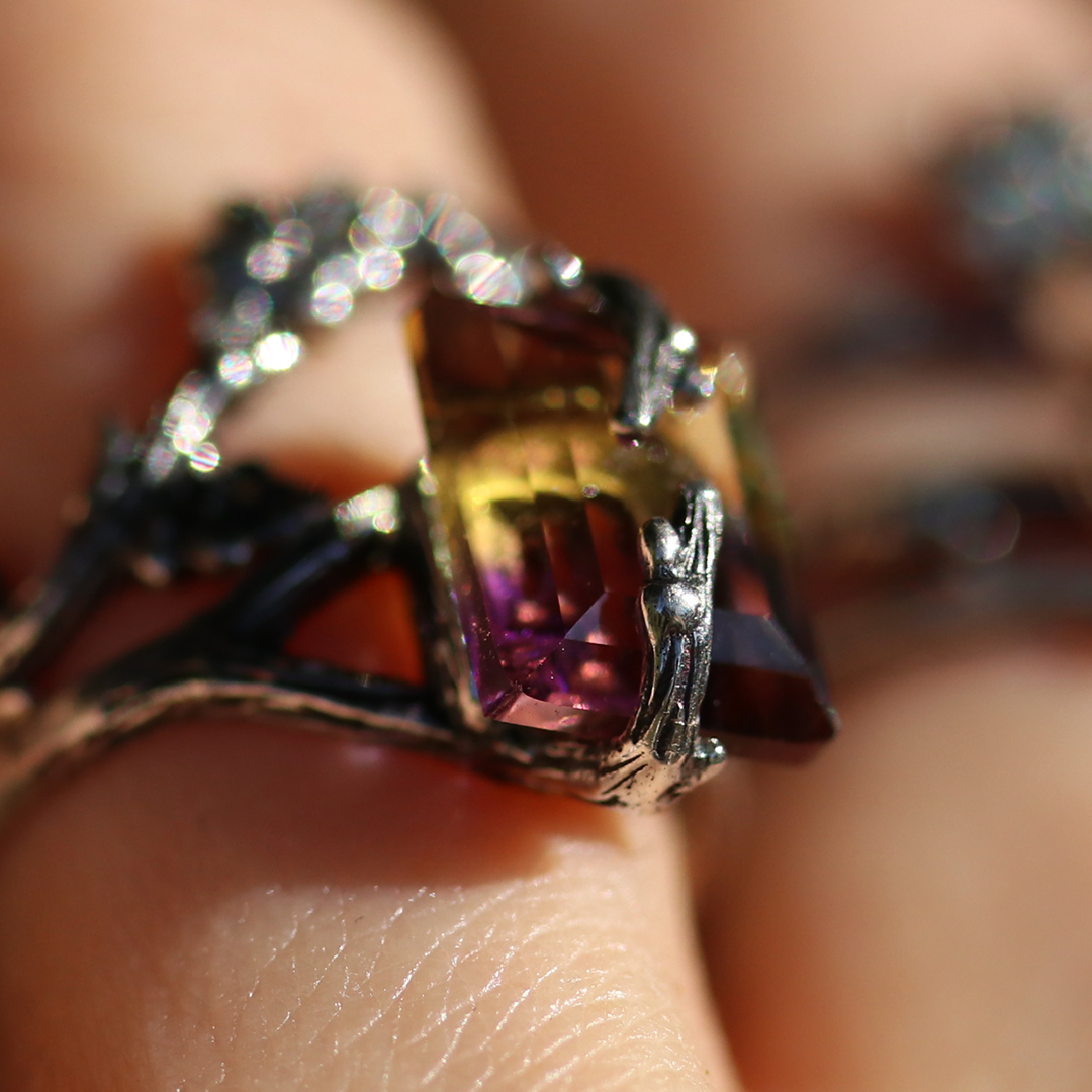 Forest Embrace Gothic Ametrine Branch Ring