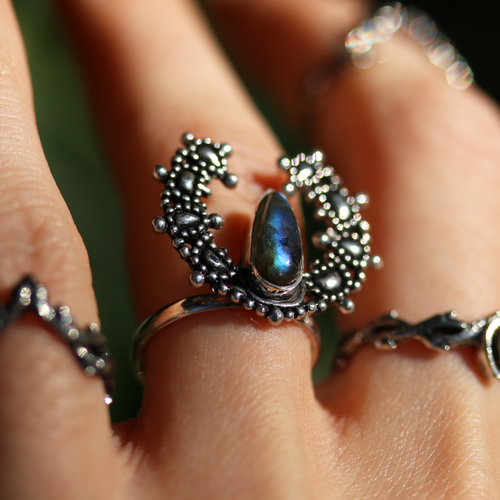Labradorite Crescent Moon Boho Ring