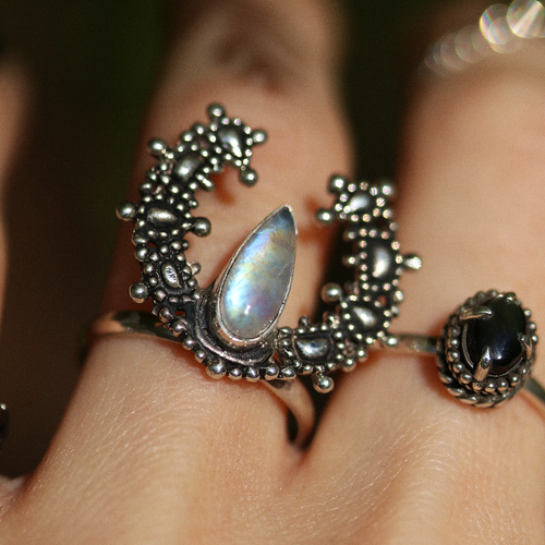 Moonstone Crescent Moon Boho Ring