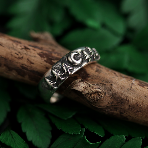 Midnight Moon Gothic Forest Band Ring