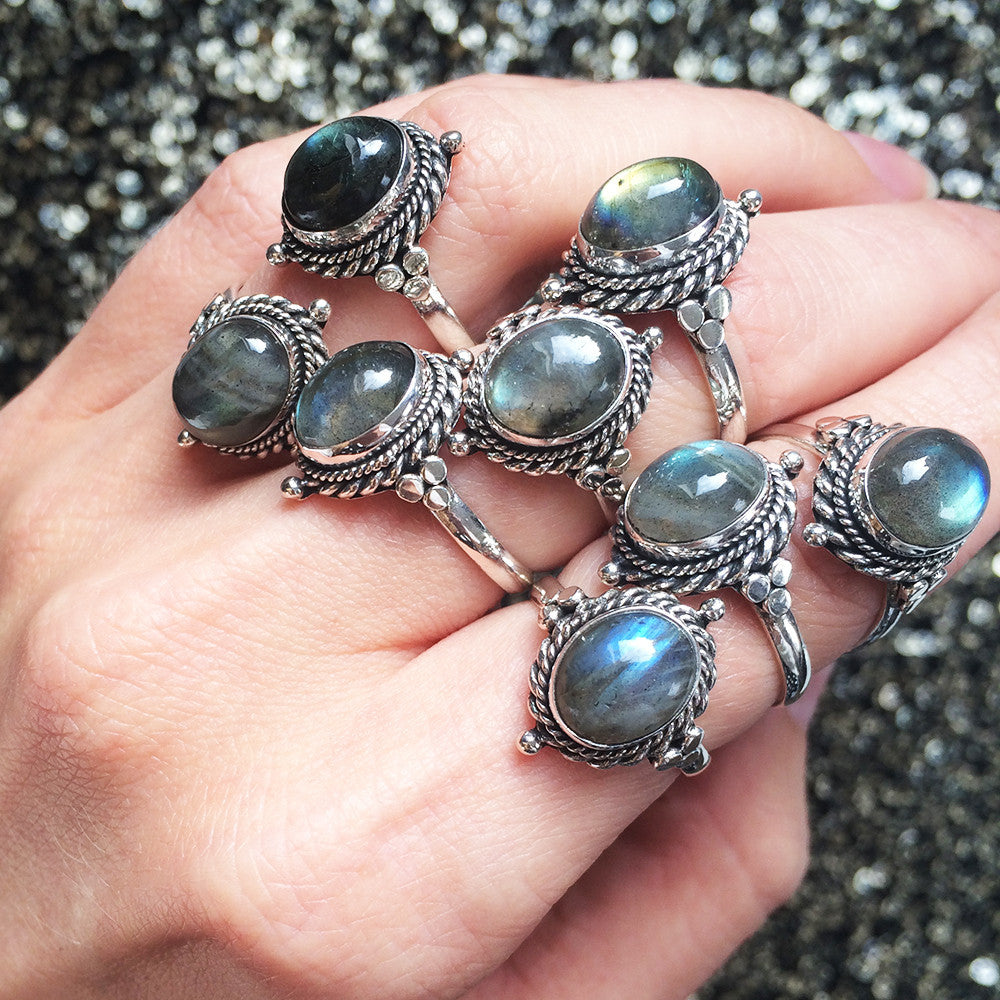 Little Luna Labradorite Gothic Sterling Silver Ring