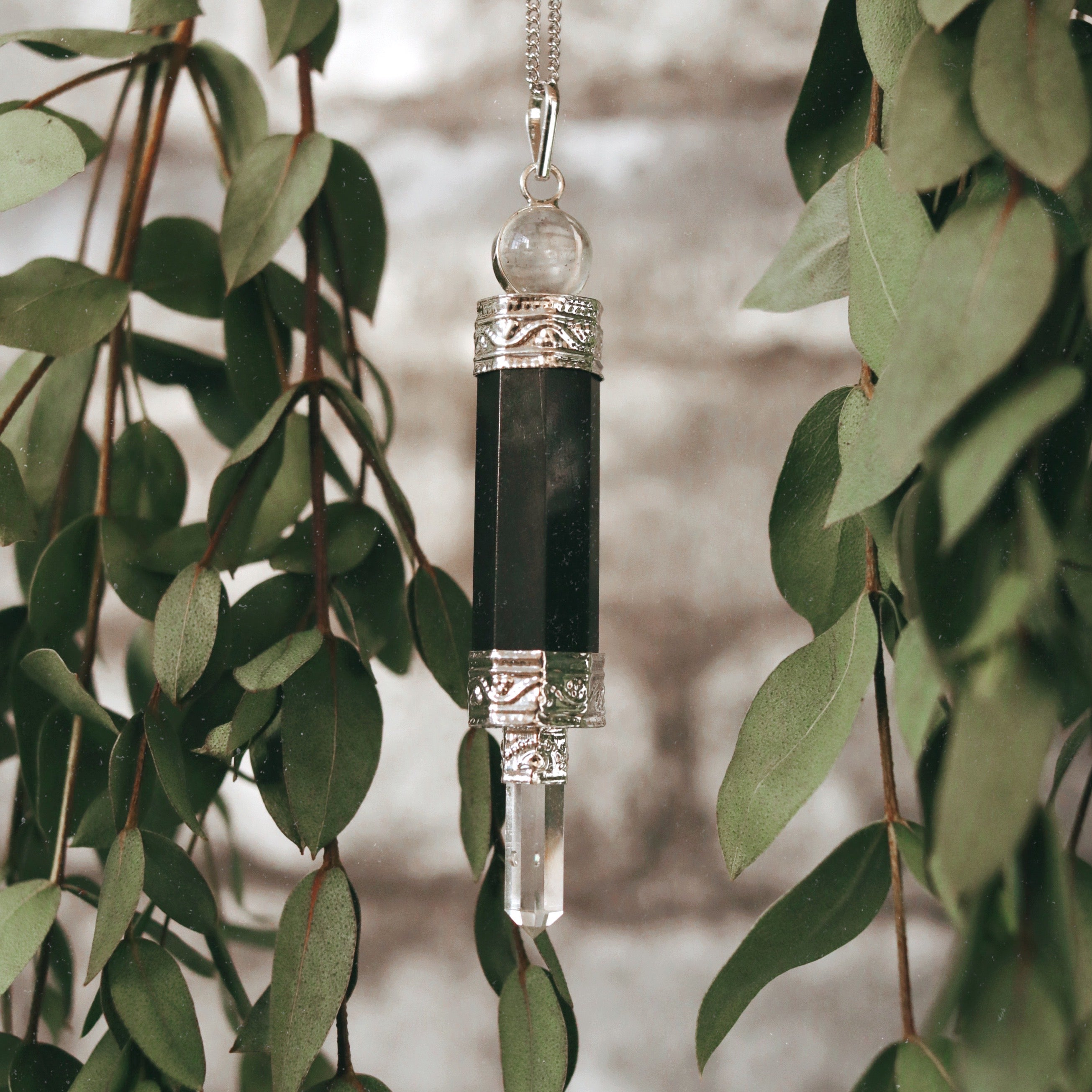 Moon Child Black Onyx & Clear Quartz Necklace