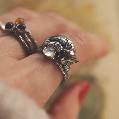 LAST CHANCE Sleeping Fox Cradle Sterling Silver Boho Ring