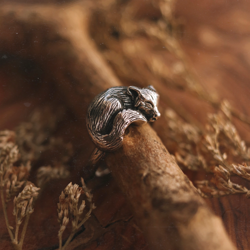 Sleeping Fox Cradle Sterling Silver Boho Ring