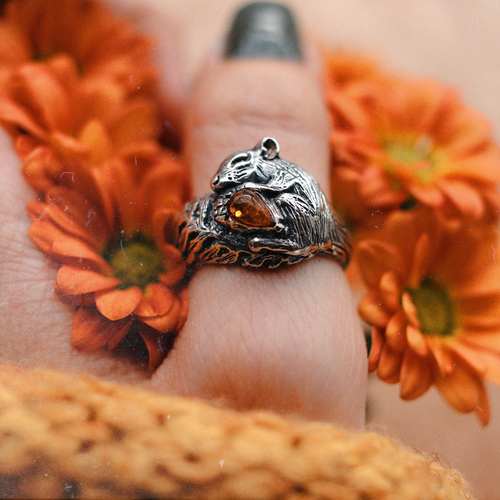 Sleeping Squirrel Acorn Amber Boho Ring | Talent Scout Winner