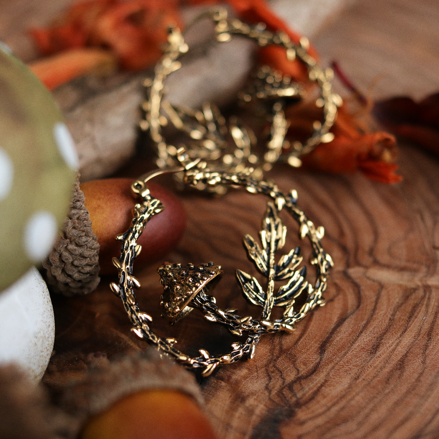 Forest Floor Fern & Mushroom Boho Hoop Earrings | Talent Scout Winner