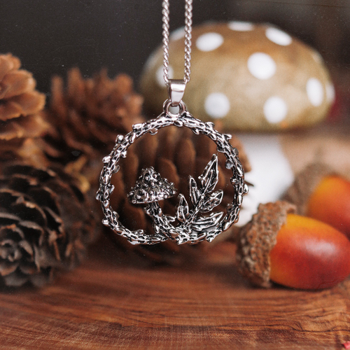 LAST CHANCE Forest Floor Mushroom & Fern Necklace | Talent Scout Winner