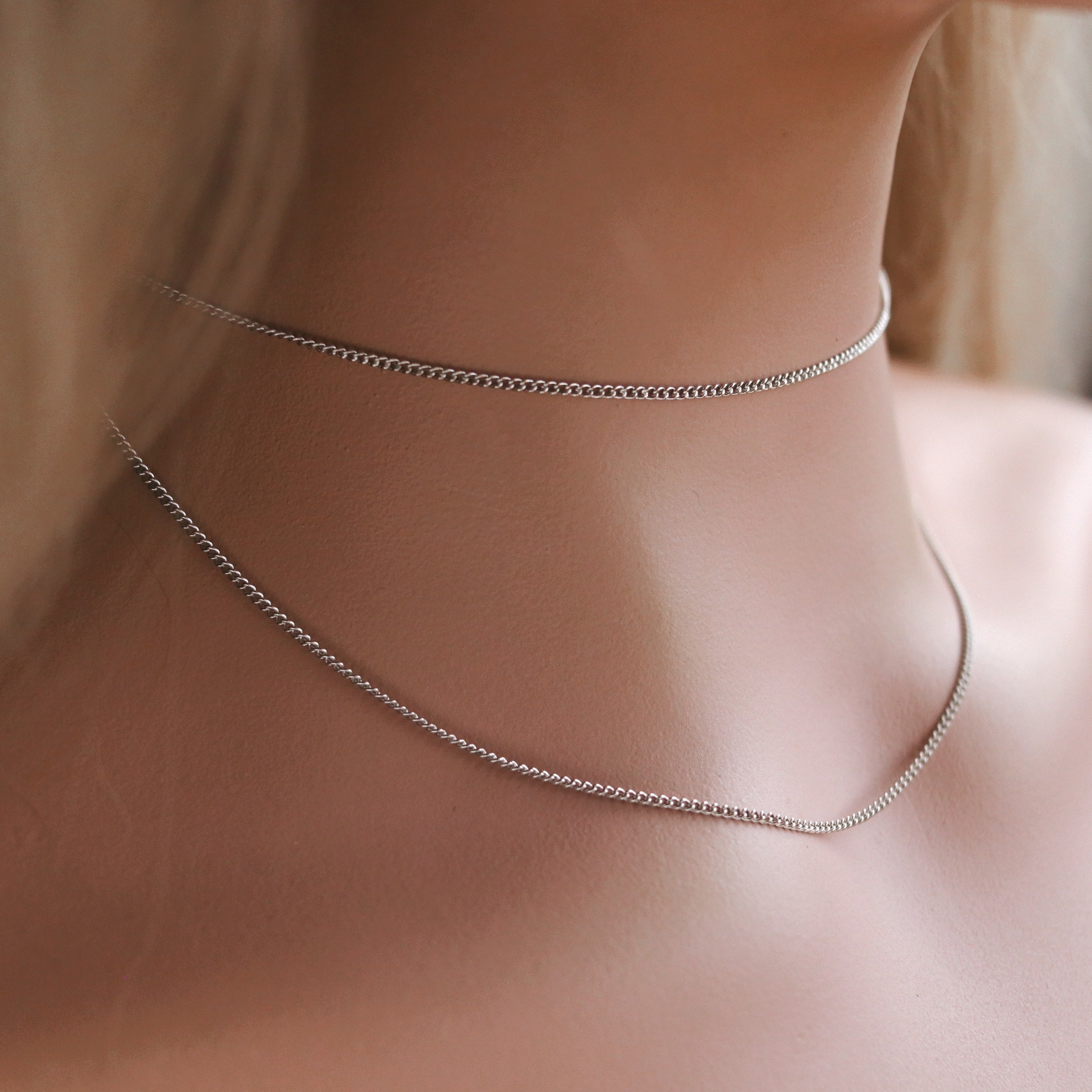 Crafty Curb Chain Choker Set [x12pcs] Silver Tone