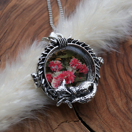 Sleeping Fox & Laurel Locket Necklace *Colour Select