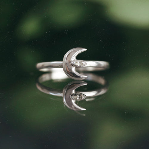 Moon Spells Vertical Clear Cubic Zirconia Ring