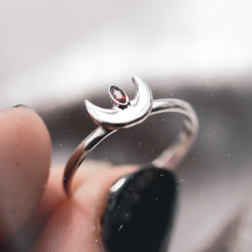 Moon Spells Horizontal Red Cubic Zirconia Ring