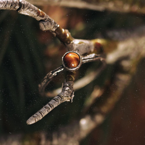Winter's Tale Tiger Eye Sterling Silver Boho Ring