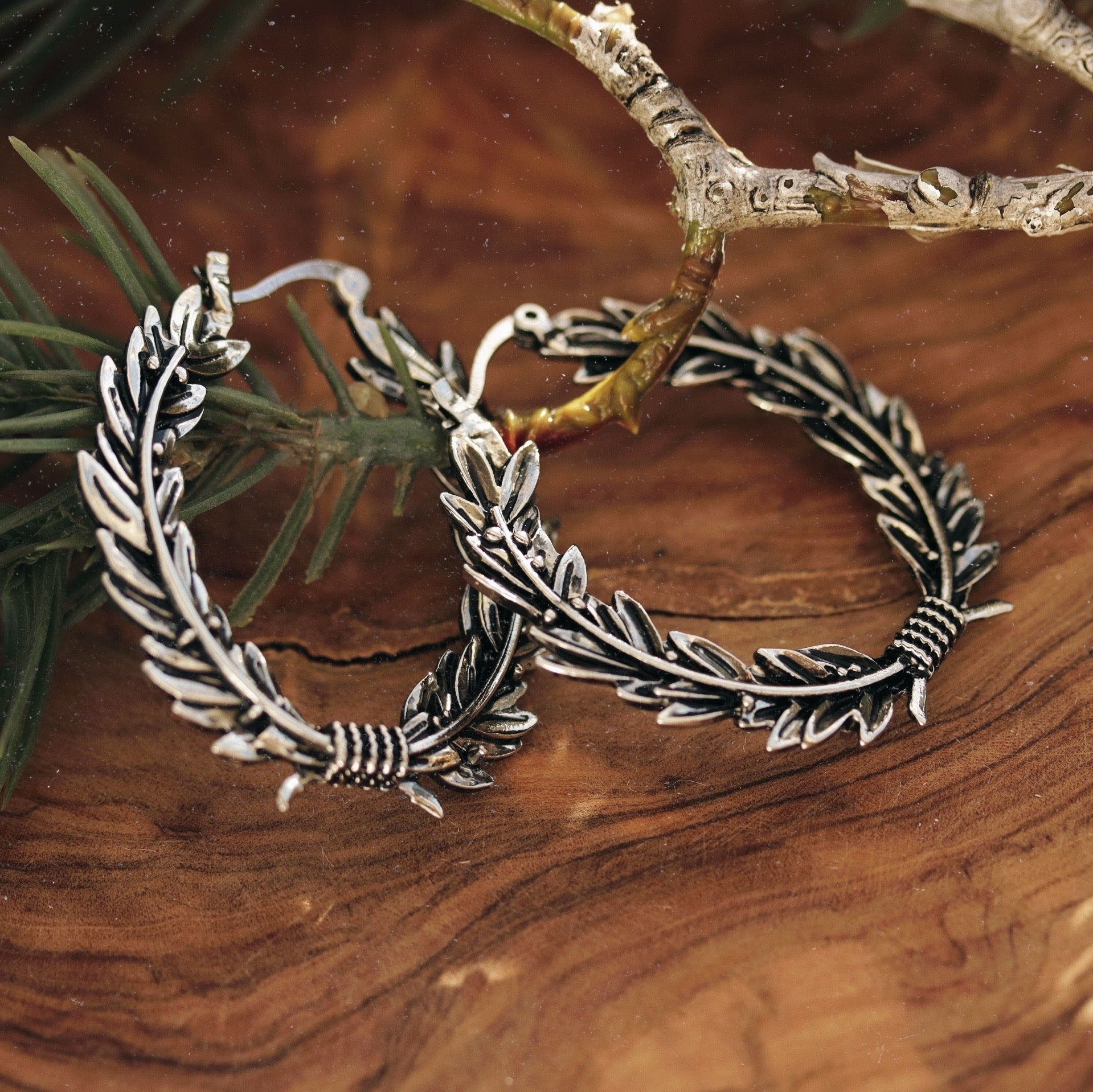 Regina Aurealis Olive Wreath Boho Hoop Earrings