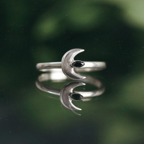 Moon Spells Vertical Black Cubic Zirconia Ring