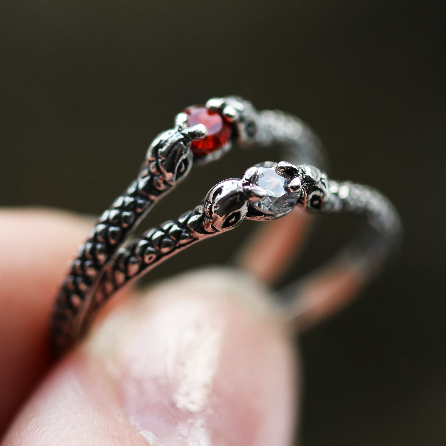 Slytherin Clear Sterling Silver Snake Ring