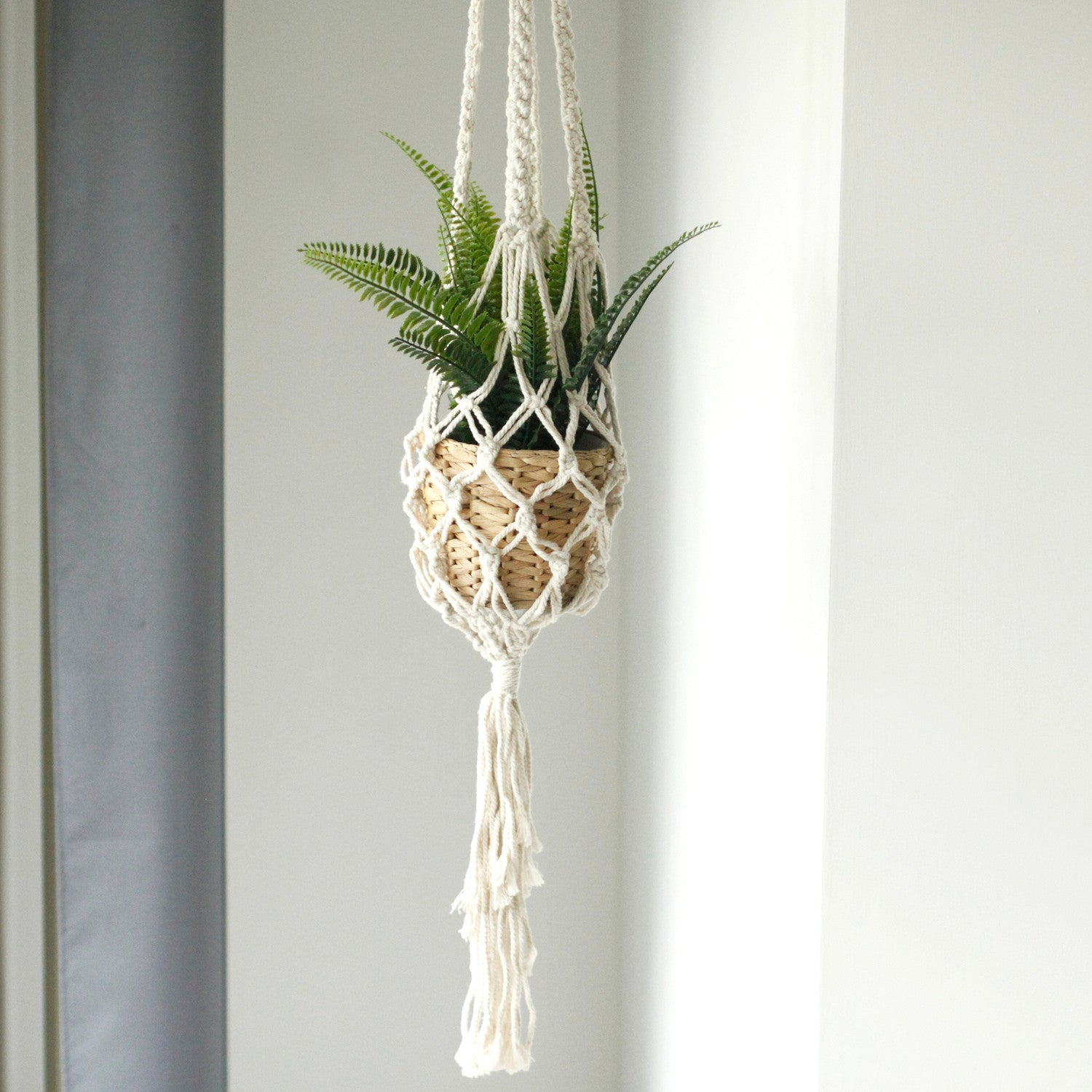 Macrame Pot Holder - Large Pot Holder - Extra Long - earth and vine