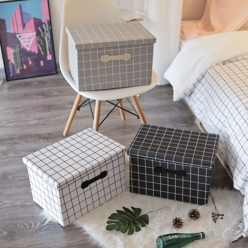 NEW LINEN PLAID FOLDABLE STORAGE BOX - HOME & LIVING | JIAG STORE Lifestyle Home Improvement