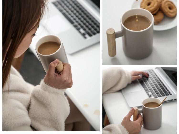 WOODEN HANDLE CERAMIC CUP -  | JIAG STORE Lifestyle Home Improvement