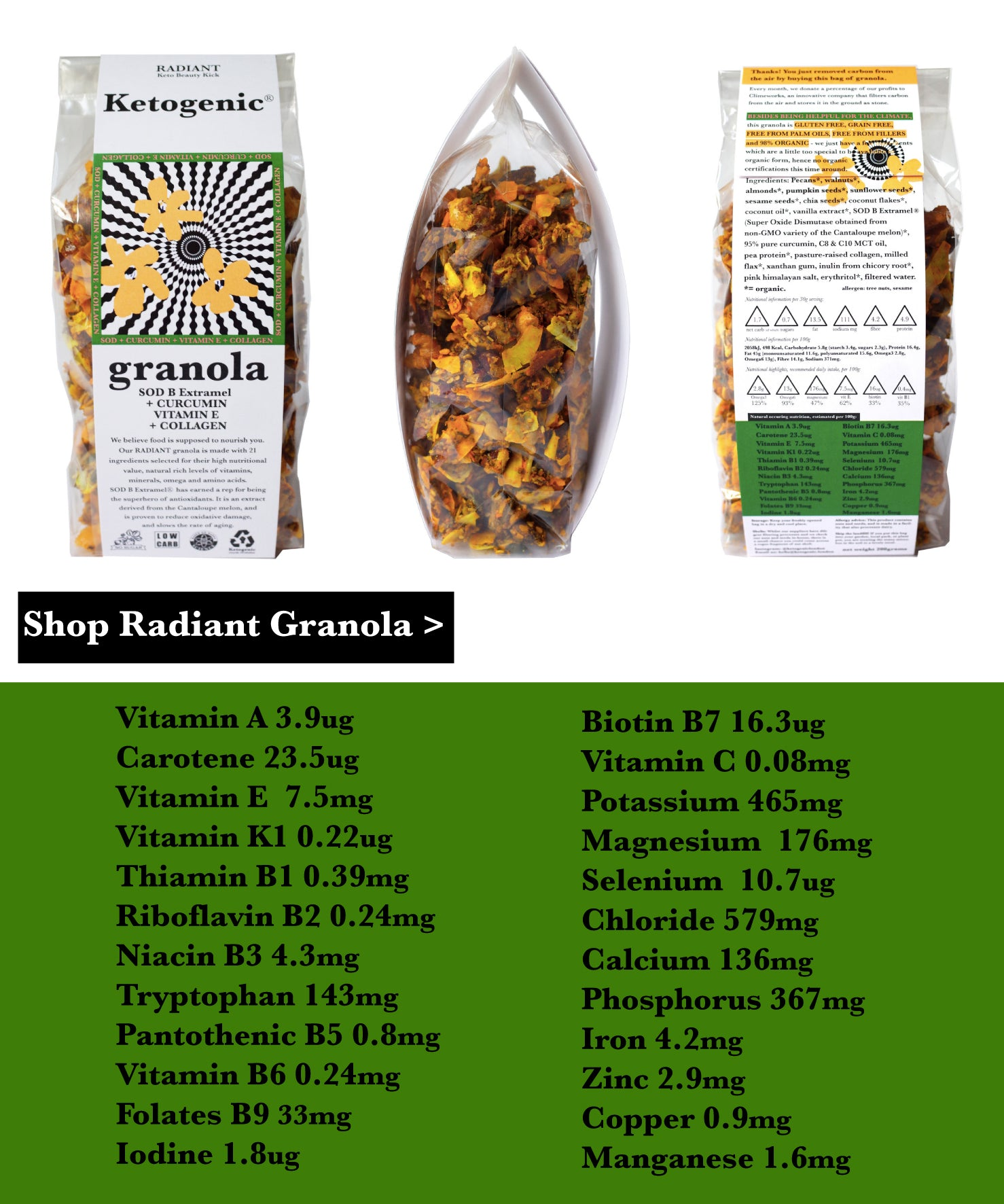 "Ketogenic Granola ""RADIANT"" with SOD B, pasture-raised collagen, curcumin and MCT (200g)"