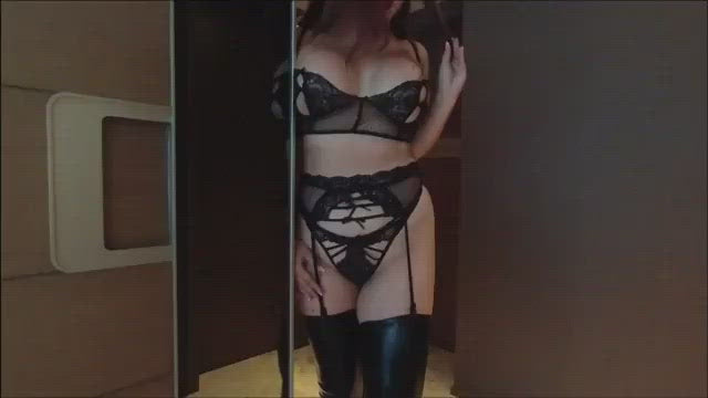 Curvy Asian Goddess Lingerie Latex heels