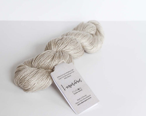 Luxurious fusion linen silk alpaca natural