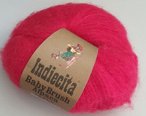 Alpaca 14ply brushed cherry red