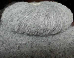baby alpaca boucle knitting yarn silver