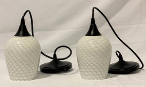 White Glass Pendant Lights (Set of 2)