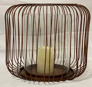 Hurricane Vase Candle Holder w/ Brass Wire Cage