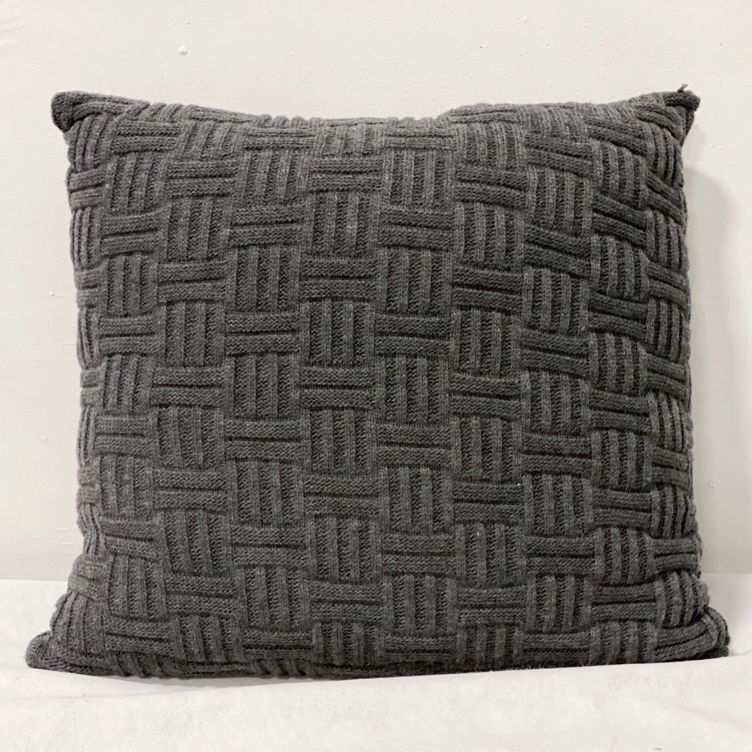 Grey Knit Throw Pillow