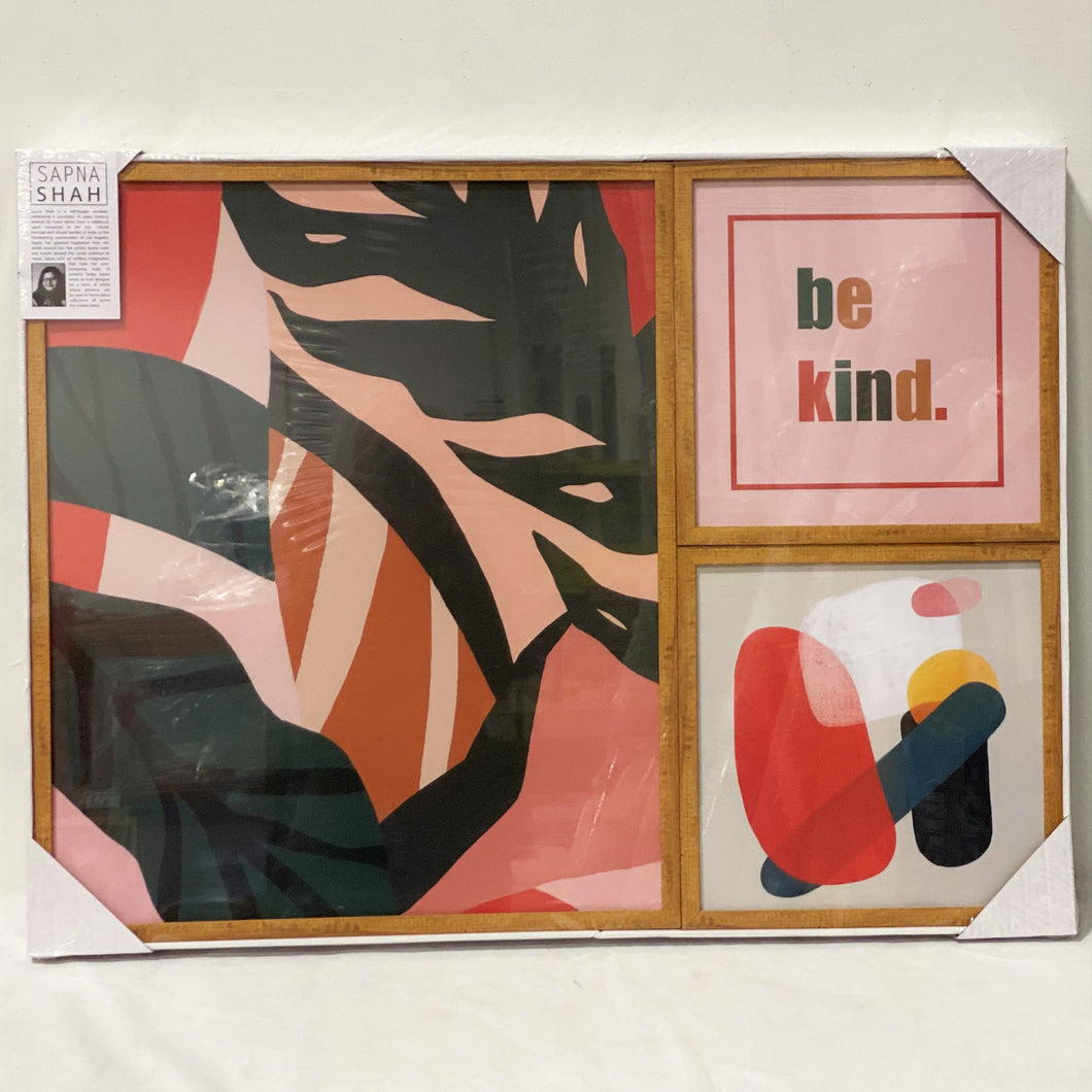 3-Piece Framed Canvas Gallery Wall ('be kind')