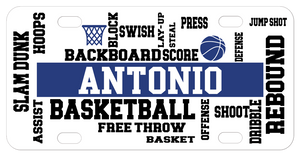 Personalized bike plate with various basketball terms randomly placed throughout the plate and customized with any name