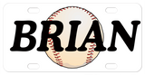 Personalized License Plate with a Baseball in the center and any name printed large on the plate