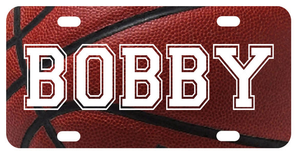personalized bike plate with basketball background to any custom name or text