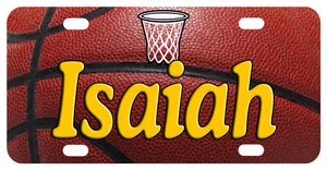 basketball background with net in top center, any name personalized on the plate