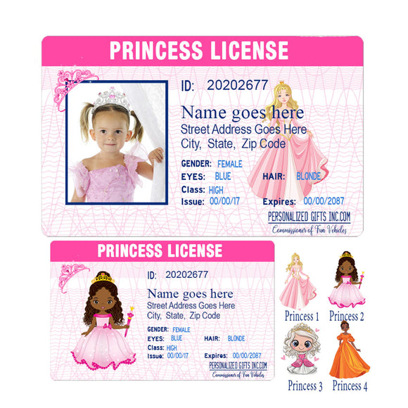 Little Girls Princess License With or without a photo and id info real or fake