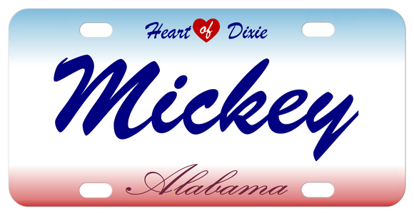 Alabama with heart on top license plate personalized