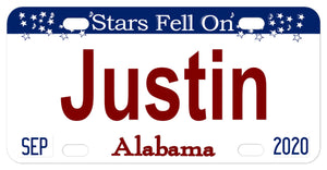 Stars Fell On Alabama custom license plate. Shows name in center and date tags on bottom left for month and right for year