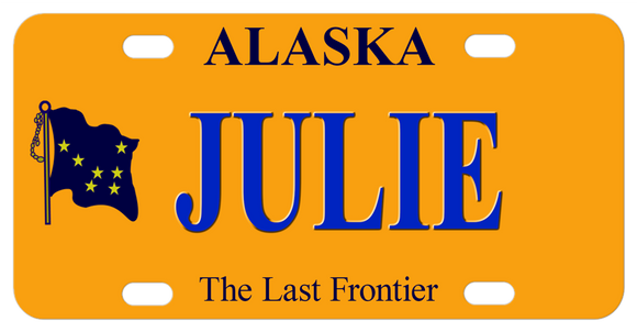 Alaska, The Last Frontier License Plate with Alaska's Flag on Left and your name on right