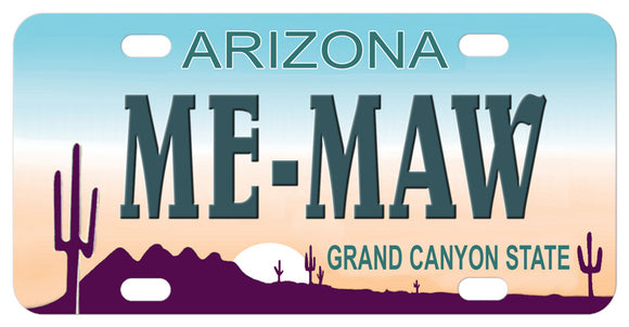 Arizona Cactus Personalized Mini Replica License Plate Me-Maw