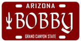 Arizona Grand Canyon State Maroon License Plate with Cactus on Left. Any Name Perosnalized