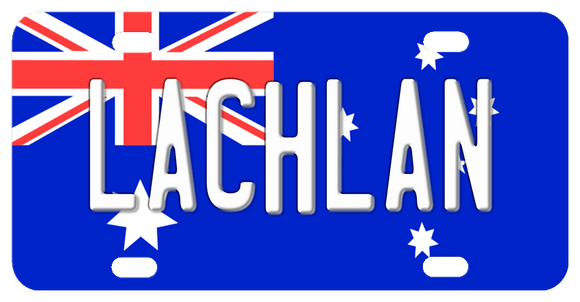 Australian Flag background with any name printed center plate
