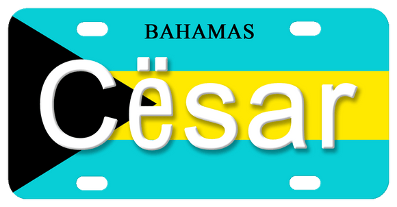 Bahamas flag in turquoise Black and Yellow with any name in center