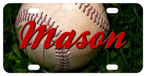 Real baseball sitting in grass photo on a custom license plate with any name personalized
