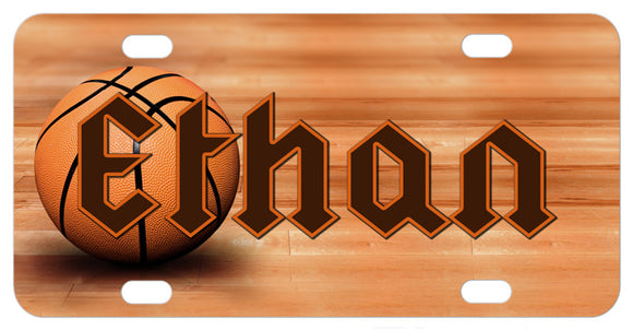 Basketball sitting on wood court floor bike plate with any personalized name